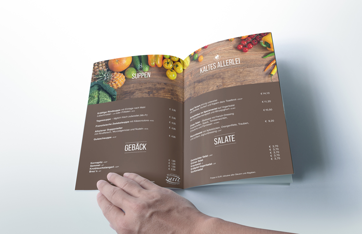 Splendid Bar Italia Menu Design e