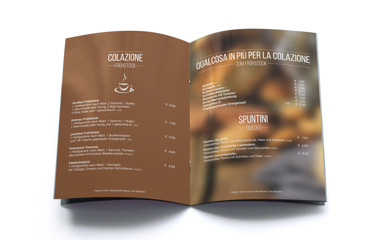 Splendid Bar Italia Menu Design f